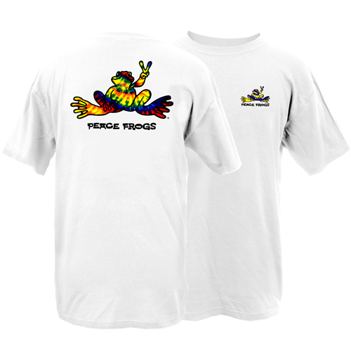 Peace Frogs Adult Tie Dye Frog Short Sleeve T-Shirt