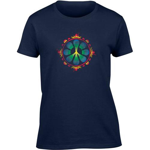 Peace Frogs Ladies Peace Flower Garment Dye Short Sleeve T-Shirt