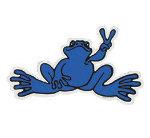 Peace Frogs Sm Blue Sticker