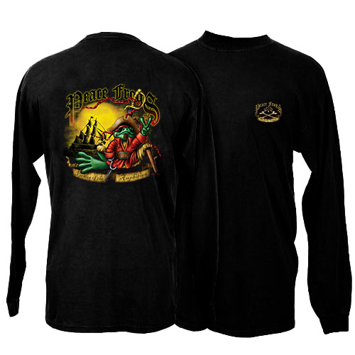 Peace Frogs Pirate Adult Long Sleeve T-Shirt
