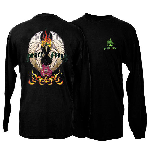 Peace Frogs Vintage Guitar Adult Long Sleeve T-Shirt