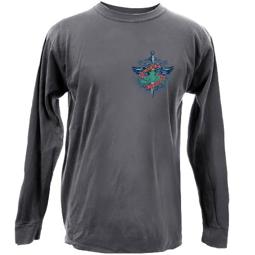 Peace Frogs Tattoo Adult Long Sleeve Garment Dye T-Shirt