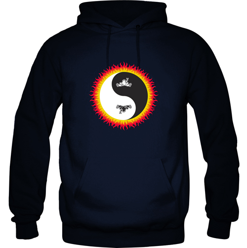 Peace Frogs Flaming Yin Yang Printed Adult Hooded Pullover Sweatshirt