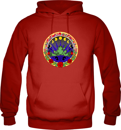 Peace Frogs Rose Hippy Printed Adult Hooded Pullover Sweatshirt
