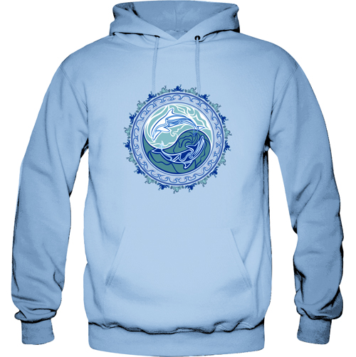 Peace Frogs Tribal Dolphin Printed Adult Hooded Pullover Sweatshirt