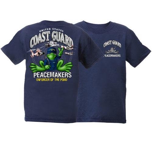Peace Frogs US Coast Guard Short Sleeve Kids T-Shirt