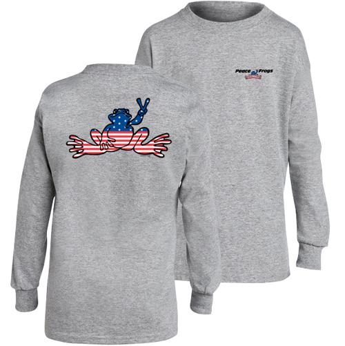Peace Frogs Granite USA Long Sleeve Kids T-Shirt