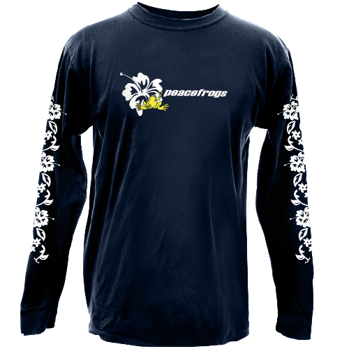 Peace Frogs Navy Hibiscus Long Sleeve Kids T-Shirt