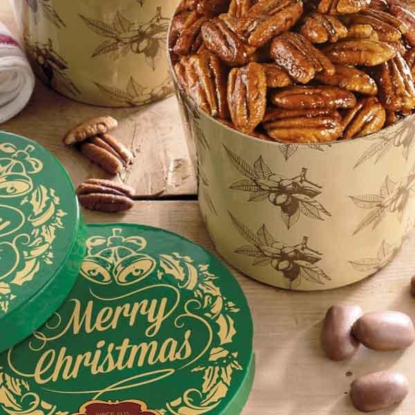 Merry Christmas Gift Tub - Honey Glazed Pecans