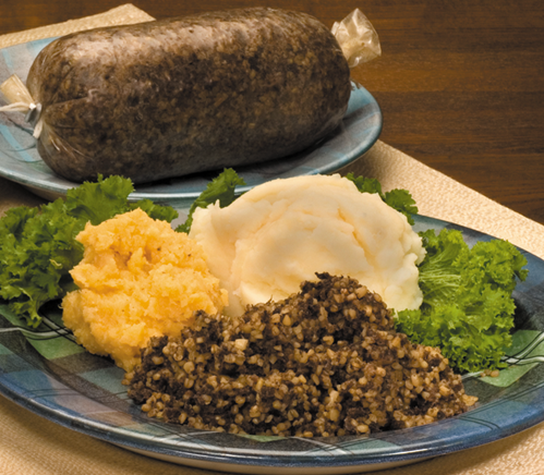 Haggis on a plate, ready to serve