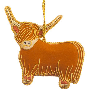 Highland Cow Ornament - felt