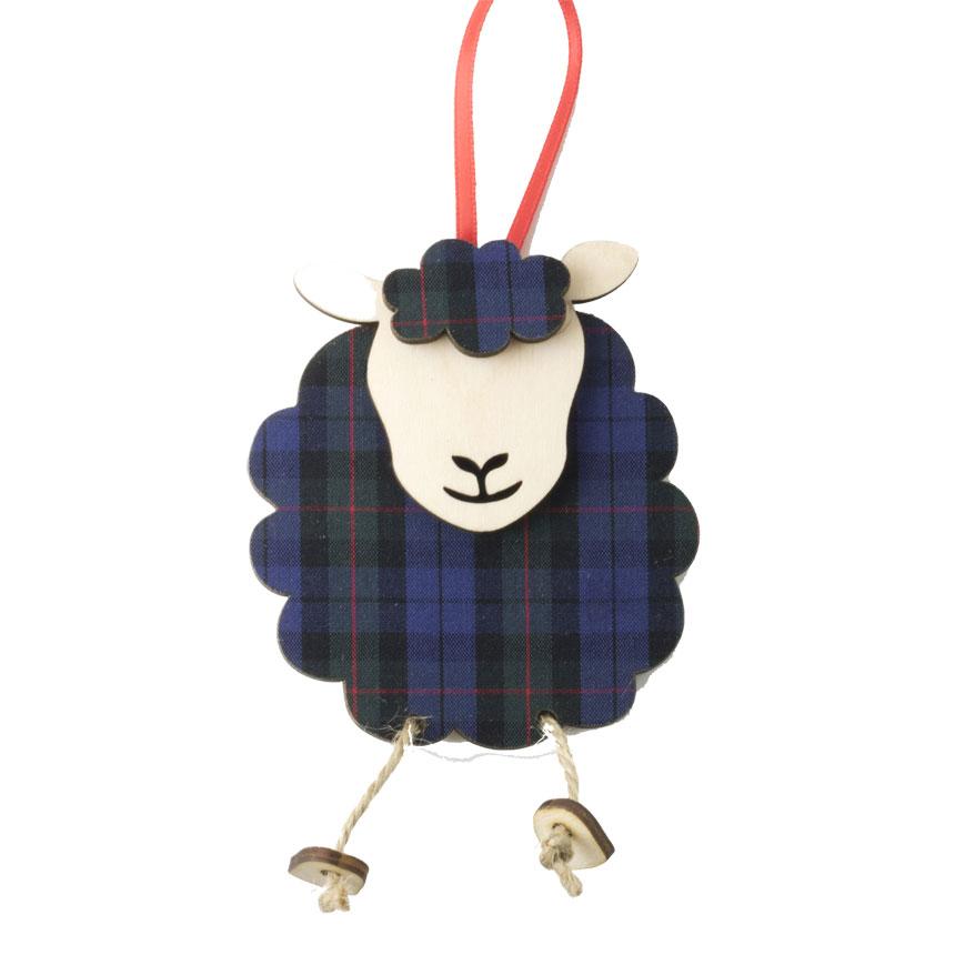 SALE Hettie - Highland Sheep Ornament in wood & fabric