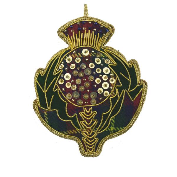 SALE Beaded Thistle Ornament on Tartan Fabric