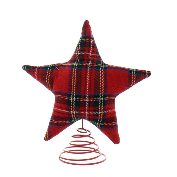 Red Tartan Star Tree Topper