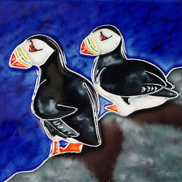 Two Puffins 4 Inch Square Tile
