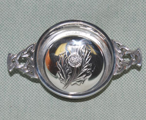 Thistle Center Pewter Quaich - 3 inches