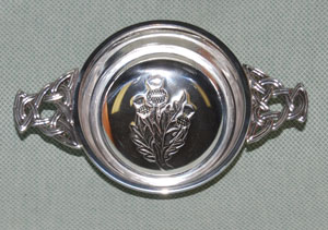"""Thistle 4"""" Pewter Quaich with celtic knot handles"""