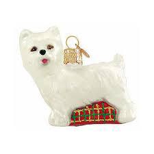 """Westie Glass Ornament 2.5"""" tall"""