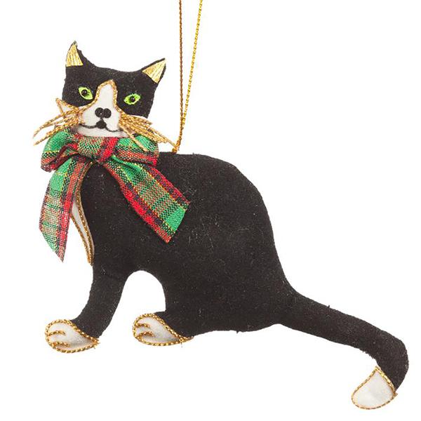 Black Cat Ornament with Tartan Bow
