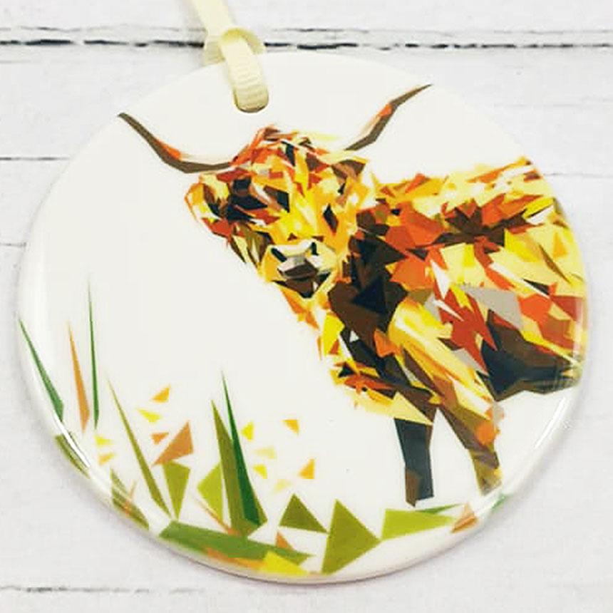 HIghland Cow Ceramic Disc Ornament