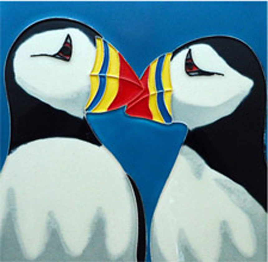Cute Puffins 8 Inch Square Tile