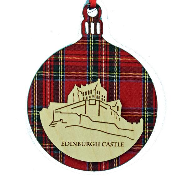 Edinburgh Castle Round Tartan Ornament