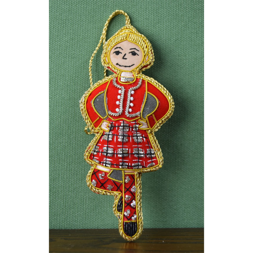 Embroidered Highland Dancer Ornament