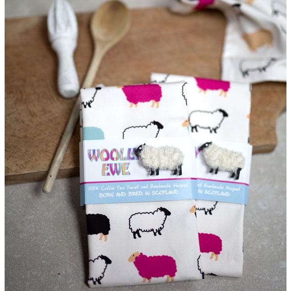 Woolly Ewe Teatowel and Woolly Ewe Magnet