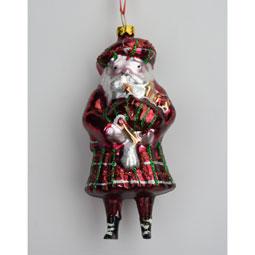 Piping Scottish Santa Glass Ornament