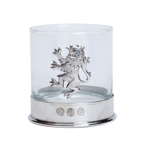 Rampant Lion Whisky Glass with Pewter Base