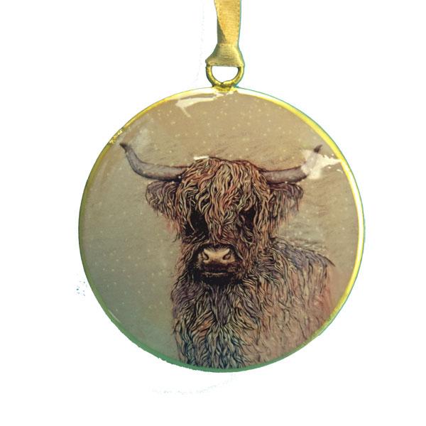 Highland Cow Metal Ornament