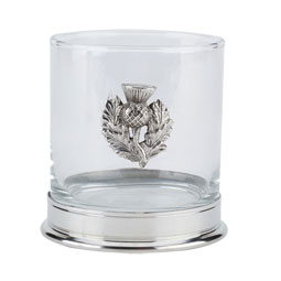 Thistle Whisky Glass with Pewter Base