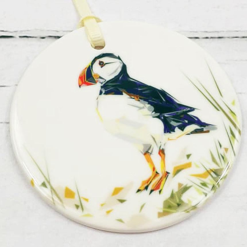 Atlantic Puffin Ceramic Disk Ornament