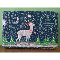 Reindeer in Snow Vanilla Fudge Candy TIn