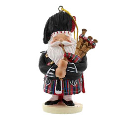 Scottish Piping Santa Ornament