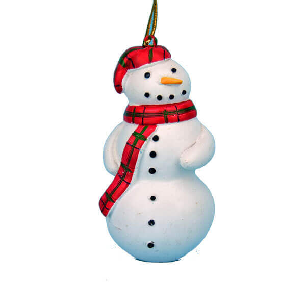 Snowman with Plaid Scarf Ornament