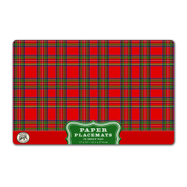 Red Tartan Paper Placemats - Pad of 25