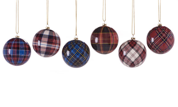 Set of Six Tartan Ball Ornaments