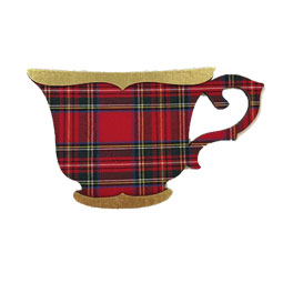 SALE Tartan Teacup Ornament with Gold Trim