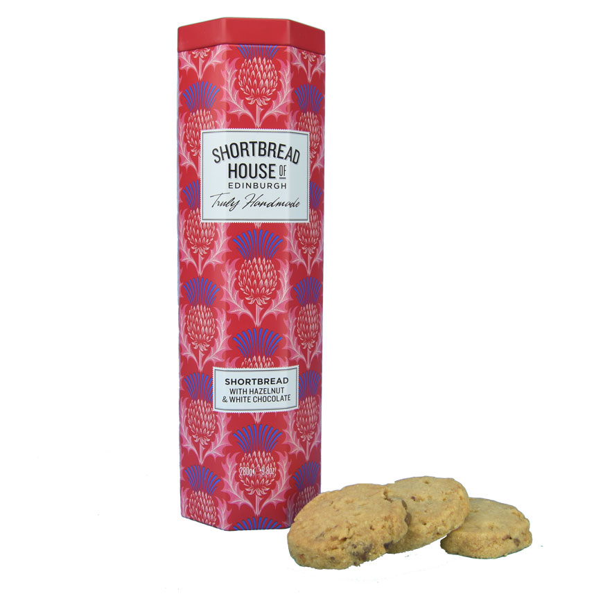 White Chocolate and Hazelnut Shortbread in a Tall Thistle Tin