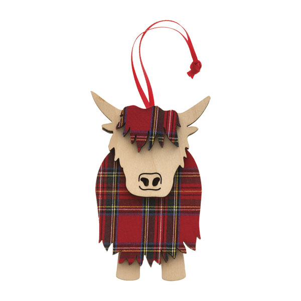 Hamish - Tartan & Wood Highland Cow Ornament