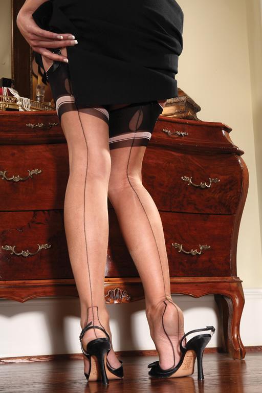 1930s Stockings, Nylons, Tights & Socks Eva Outline Heel $89.00 AT vintagedancer.com