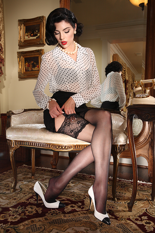 Seamed Stockings, Nylons, Tights Eden Lace Top Stocking $24.00 AT vintagedancer.com