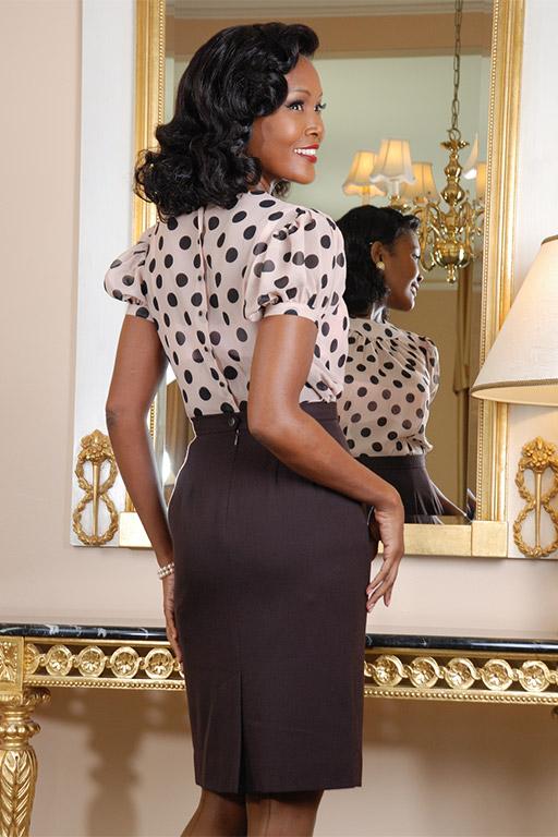 50s Shirts & Tops Polka Dot Doormens BlouseGlamour Mail $59.00 AT vintagedancer.com