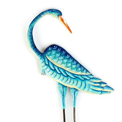 Teal Blue Crane Stake