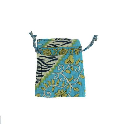 Small Blue Sari Gift Bag