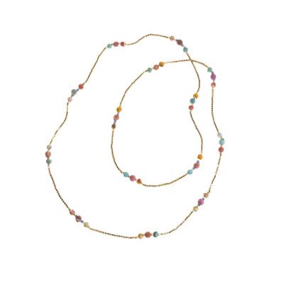 Long Sari Bead and Brass Necklace