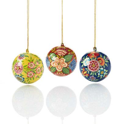 Kashmiri Ball Ornaments - Set of 3