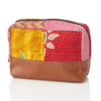 Kantha & Leather Large Zip Pouch