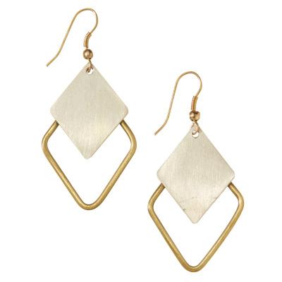 Mixed Metal Diamond Earrings